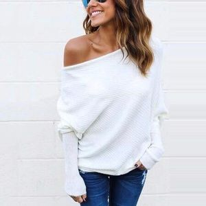 New Slouchy Off-Shoulder Boho Pullover Sweater